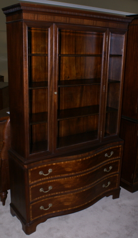 Mahogany serpentine front Fancher Furniture banded inlaid china ...