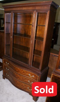 Mahogany serpentine front Fancher Furniture Company banded inlaid china cabinet with beveled glass