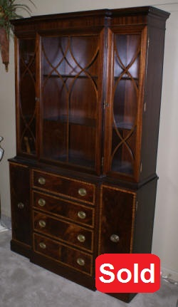 Fancher banded inlaid mahogany china cabinet