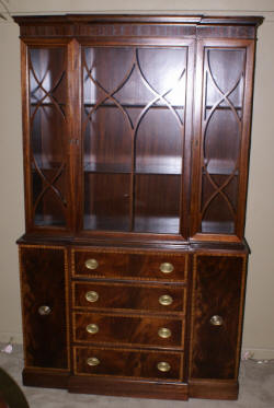 Banded inlaid mahogany china cabinet