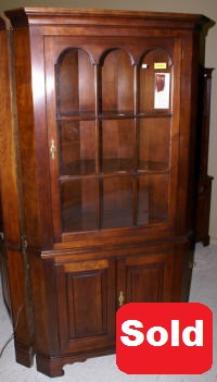 Statton solid cherry corner cabinet
