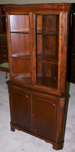 Mahogany 1940s Antique Two Door Corner Cabinet
