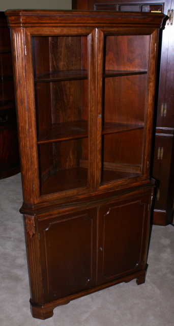 Mahogany 1940s Antique Two Door Corner Cabinet