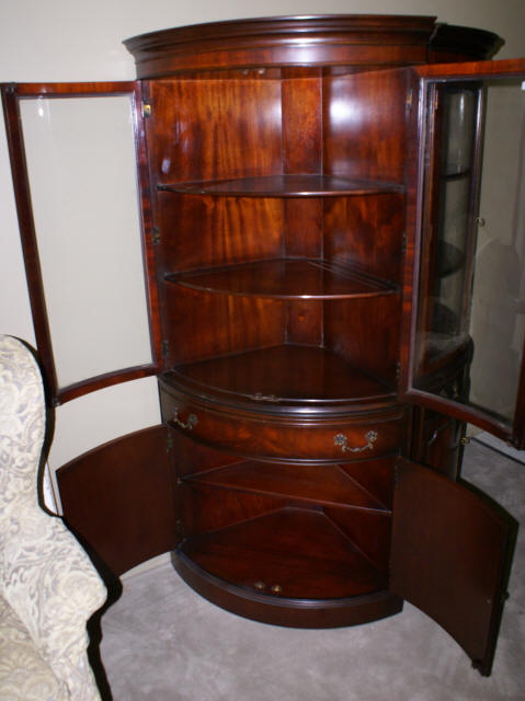Bow Front Mahogany Corner Cabinet