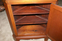Pair of Biggs furniture solid mahogany inlaid tall corner cabinets