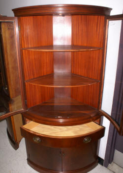 antique mahogany bow front corner cabinet 1940s