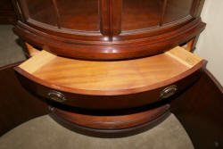 Drexel Travis Court Collection mahogany bow front corner cabinet