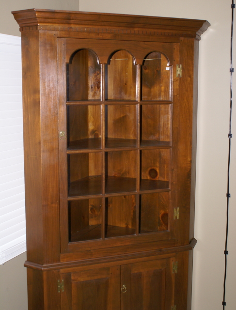 20 Corner Cabinets To Make A Clutter Free Bathroom Space: Solid Walnut 2 Piece Custom Made Corner Cabinet