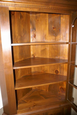 Solid walnut 2 piece custom made corner cabinet