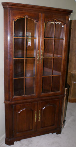 Solid cherry two door modern corner cabinet