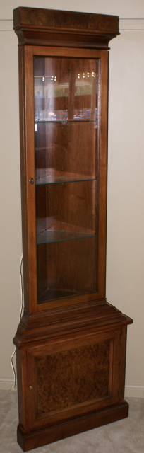 Drexel walnut antique corner cabinet