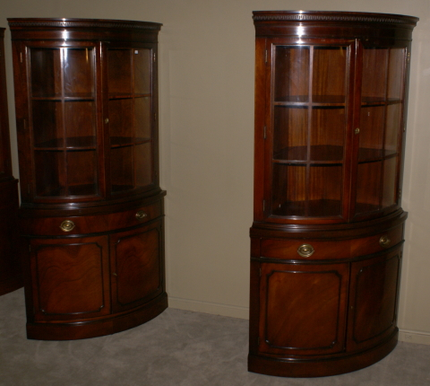 Matched pair of drexel mahogany corner cabinets for Corner cabinet