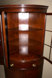 Matched pair of Drexel mahogany corner cabinets