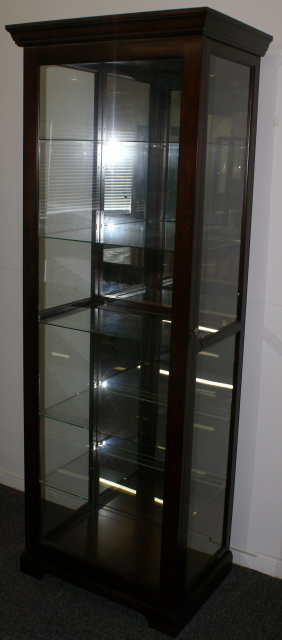 Mahogany Finish Sliding Glass Door Curio Cabinet Display