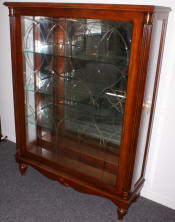Mahogany sliding etched glass door key lock inlaid curio cabinet by Pulaski Furniture Company