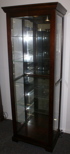 Mahogany Finish Sliding Glass Door Curio Cabinet With Key