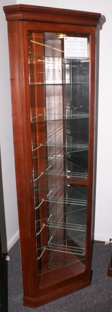 Mahogany Lighted Corner Curio Cabinet By Pulaski Furniture