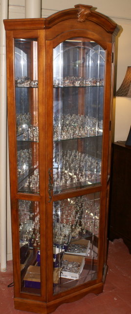 Lighted Etched Glass Front Corner Curio Cabinet Display