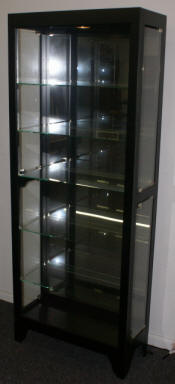 Black onyx finish side door open glass curio cabinet by Pulaski Furniture Company