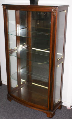 Mahogany sliding etched glass door curio cabinet by Pulaski Furniture Company