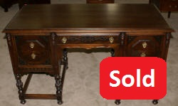 Antique walnut 1930s William and Mary desk