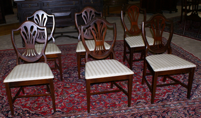set of six dark mahogany antique dining room chairs ... - Set Of Six Mahogany Shield Back Dining Room Chairs
