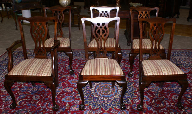 set of six period solid mahogany chippendale dining room chairs
