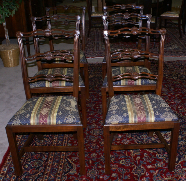 Wondrous Set Of Six Solid Mahogany Ribbon Back Dining Room Chairs Short Links Chair Design For Home Short Linksinfo