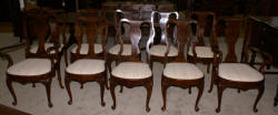 set of 10 walnut Queen Anne dining room chairs