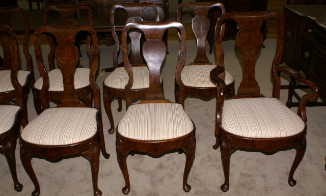 ... set of 10 walnut Queen Anne dining room chairs - Set Of 10 Queen Anne Burl Walnut Antique Dining Room Chairs