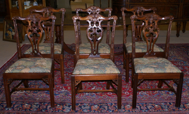 set of six solid mahogany chinese chippendale dining room chairs