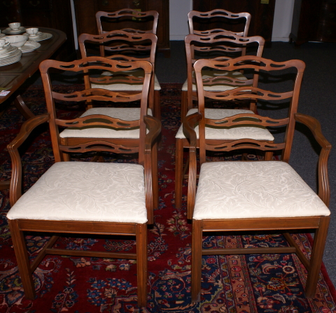 Set Of 6 Mahogany Ladder Back Dining Room Chairs ...