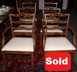 set of 6 mahogany ladder back dining room chairs