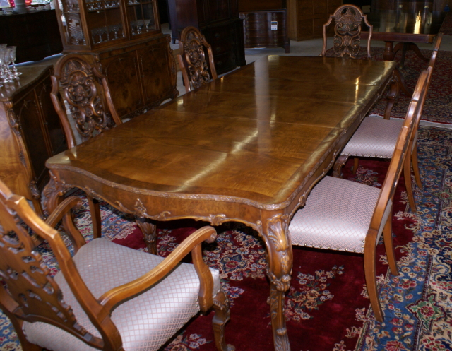 Antique dining room furniture mahogany dining room furniture for Dining room table with couch