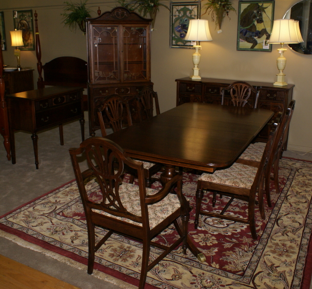 Complete 1930s Walnut Dining Room Set