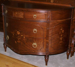 Walnut French flower inlaid carved antique demi- lune dresser
