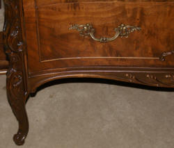 Walnut French inlaid carved antique dresser