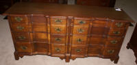 Chippendale block front solid mahogany double dresser