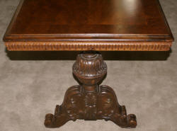 Burl walnut carved antique library table