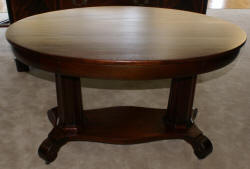 empire revival solid mahogany oval library table