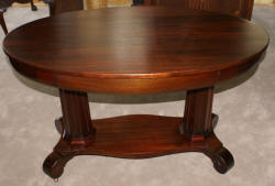 Empire Revival Antique Solid Mahogany Oval Library Table