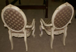 Michael Amini pair of French carved arm chairs