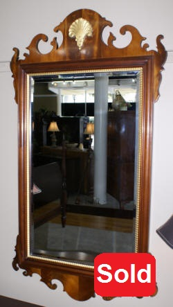 Councill Craftsman shell carved mahogany mirror