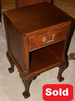 Mahogany chippendale ball and claw foot night stand
