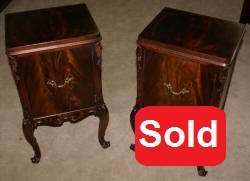 matched pair of batesville mahgoany french carved door night stands antique