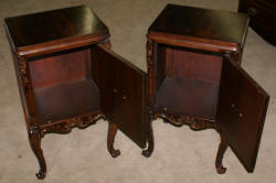 matched pair of Batesville mahgoany French carved door night stands