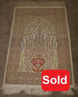 Handmade silk prayer rug tree of life