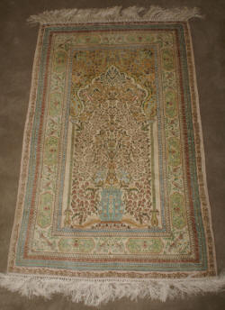 Very fine handmade silk prayer rug with the tree of life $895.00