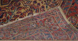 Handmade Persian Sarouk very worn and repaired antique rug 13 x 6