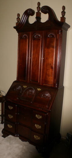 Mahogany Chippendale block front shell carved two piece secretary desk